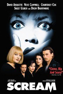 Scream (1996), Dimension Films with Drew Barrymore, Neve Campbell, Skeet Ulrich, Courteney Cox, David Arquette, and Matthew Lillard. Another Wes Craven series began. Very fun.