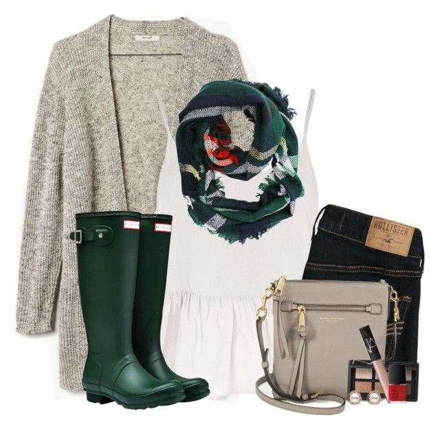 """Cardigan, green plaid scarf & Hunter boots"" by steffiestaffie on Polyvore featuring Madewell, Topshop, Hollister Co., Hunter, Marc Jacobs, ULTA, NARS Cosmetics and Trilogy"
