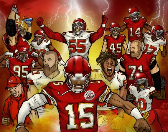 Kansas City Chiefs 2019 Team Mural In 2020 Kansas City Chiefs Kansas City Chiefs Football Chiefs Wallpaper