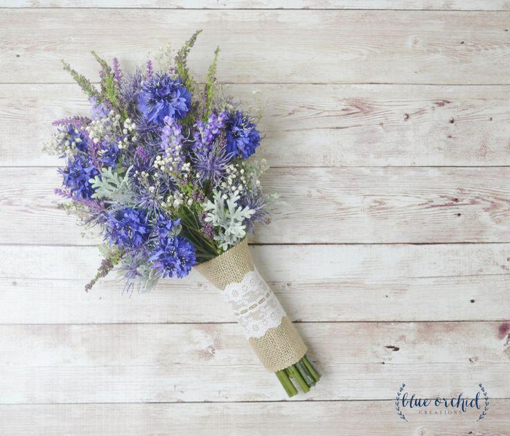 Wildflower Bouquet, Lavender Bouquet, Bridal Bouquet, Small Bouquet, Rustic Bouquet, Woodland Wedding Bouquet, Cornflower, Blue Bouquet by blueorchidcreations on Etsy