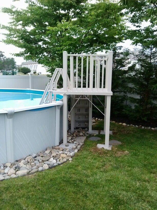 Leisure Bay Spas >> Vinyl Works 5' x 5' Resin Pool Deck installed in Tom's ...