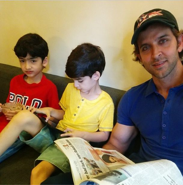 They (Hrehaan and Hridaan) got their 1st studio sound experience by the best.'- Hrithik Roshan via twitter.