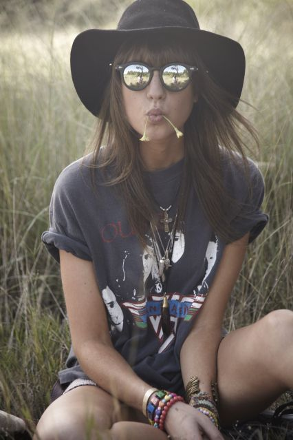 VINTAGE hat, van halen tee, MINKPINK shades, THE STORY OF shorts, http://lovemoreblog.blogspot.com.au/search/label/Outfits