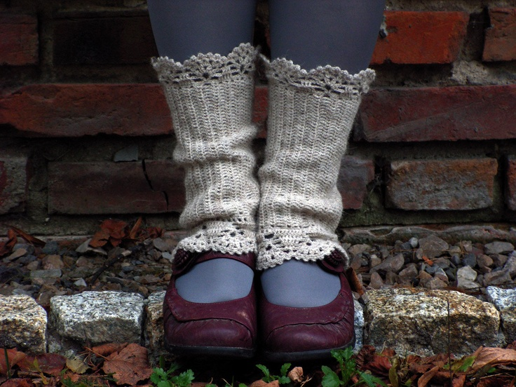 Natural Warm - crocheted open work lacy leg warmers spats cuffs with strings. $35.00, via Etsy.