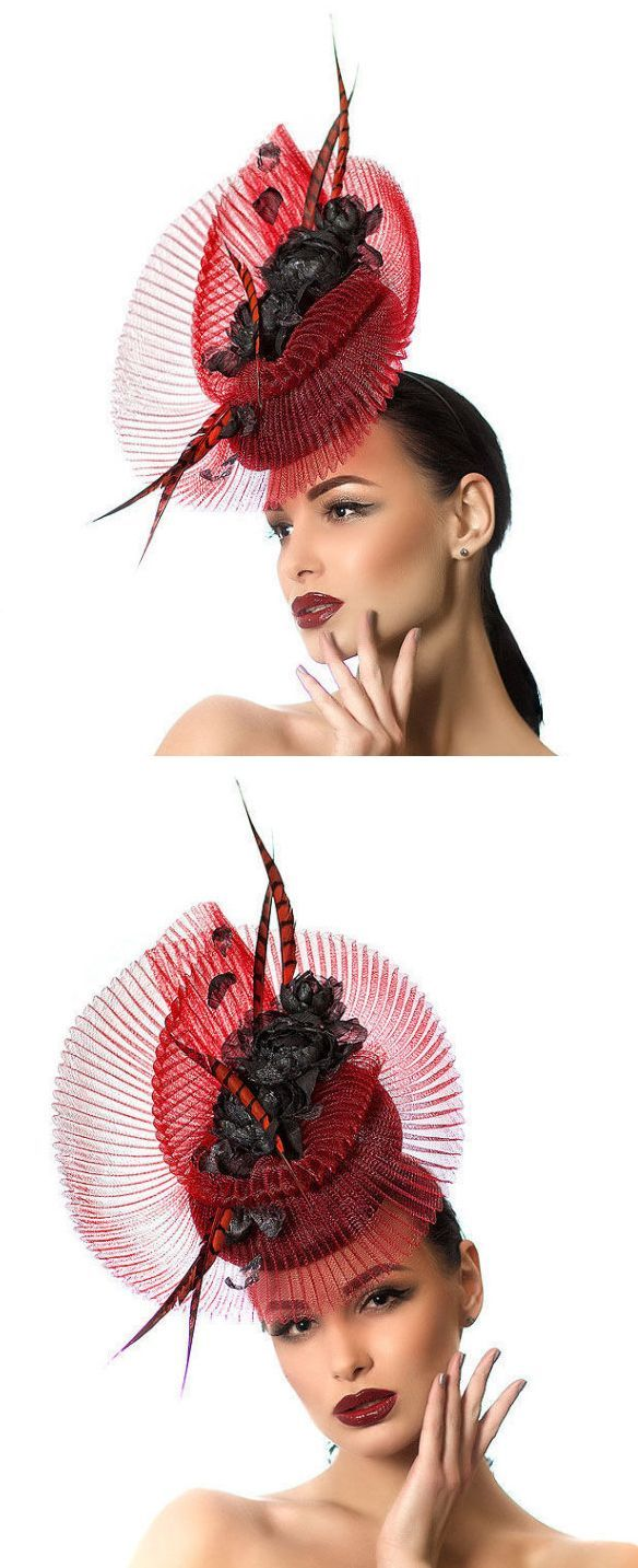 Red Black Hat, fascinator headpiece, with bursts of roses crinoline and feathers, great for spring summer or winter racing fashion or wedding outfits. Ideas for Mother of the bride in popular color for MOB outfits. Wedding ideas and inspiration, or Kentucky Derby, Royal Ascot racing outfits. #kentuckyderby #royalascot #ascotfashion #ascothats #derbyhats #fashion #fashionista #hatinators #kentuckyderbyoutfits #outfits #outfitideas #affiliatelink #etsyfinds #springfashion #milinery…