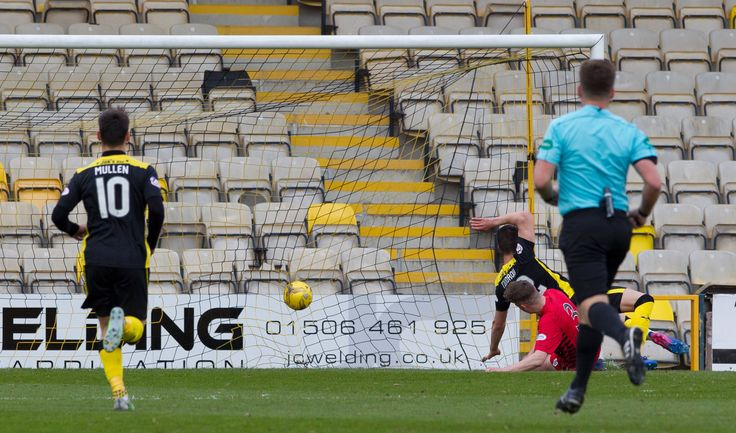 Livingston's Nickolay Todorov scores during the Ladbrokes League One game between Livingston and Queen's Park.