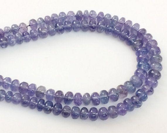 Tanzanite Beads Natural Tanzanite Plain Rondelles by gemsforjewels