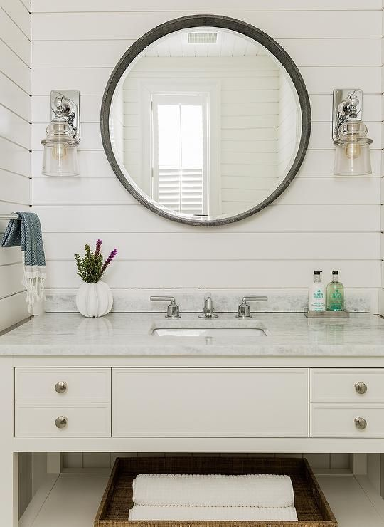 Chic Cottage Bathroom Features Tongue And Groove Paneling Lined With A Creamy White Washstand Topped With