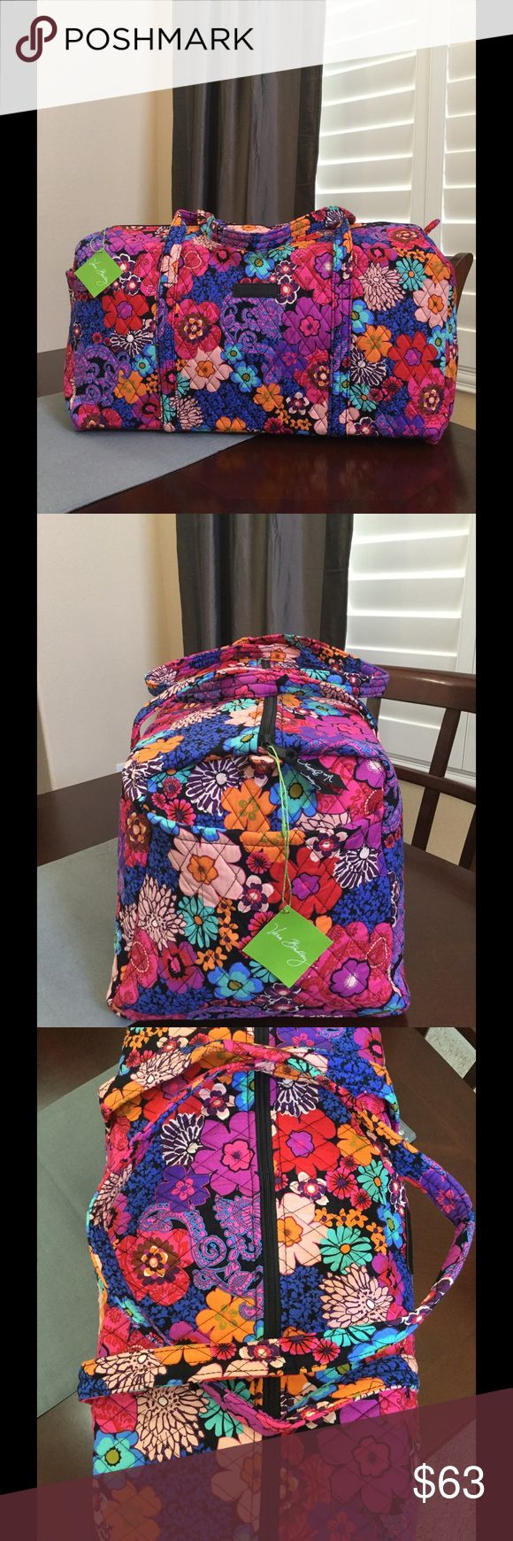 "NWT VERA BRADLEY LARGE DUFFEL BAG Brand new with tags Vera Bradley large duffel  Floral Fiesta  pattern  15"" strap drop Handy outside end pocket Folds flat for easy storing Dimensions 22"" W x 11½"" H x 11½"" D - 15"" strap drop  Smoke/pet free home Vera Bradley Bags Travel Bags"