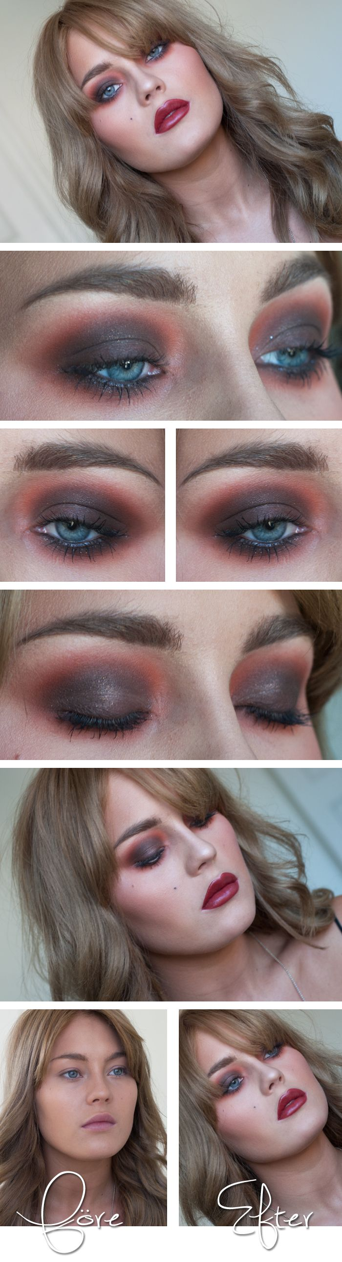 "Today's Look : ""Angelica"" -Linda Hallberg (can you say vampy?! This is a gorgeous look throughout, with red/wine through the eyes, blush and lips.) 08/17/13"
