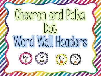 Polka Dot and Chevron word wall headers. Love these! These are going to look awesome on my word walls.