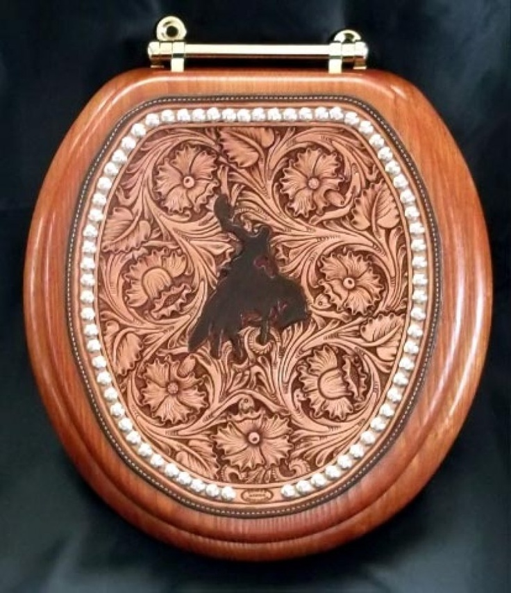Custom Leather Hand Carved Floral Toilet Seat Cover
