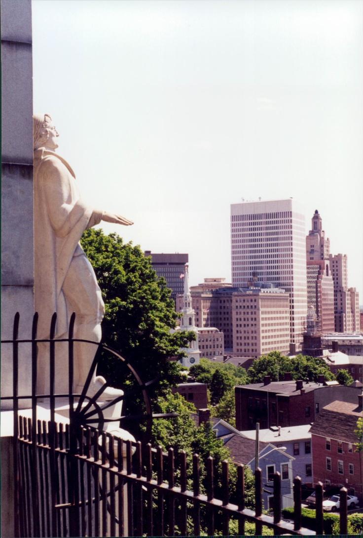 Roger Williams statue overlooking Providence Rhode Island