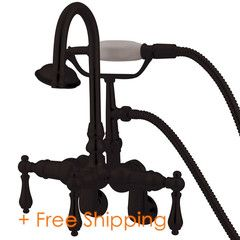 """Kingston Brass Vintage 3-3/8"""" - 9"""" Adjustable Center Wall Mount Clawfoot Tub Filler with Hand Shower Oil Rubbed Bronze CC301T5"""