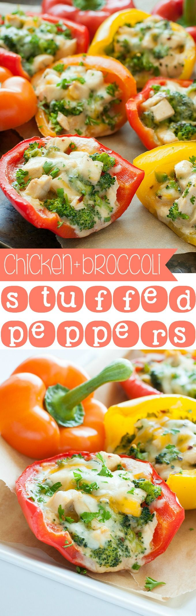 These Cheesy Chicken and Broccoli Stuffed Peppers take comfort food to the next level. Healthier than their casserole counterpart and so stinkin' tasty!