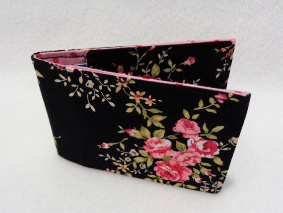 Black And Pink Rose Card Holder Oyster Card Holder