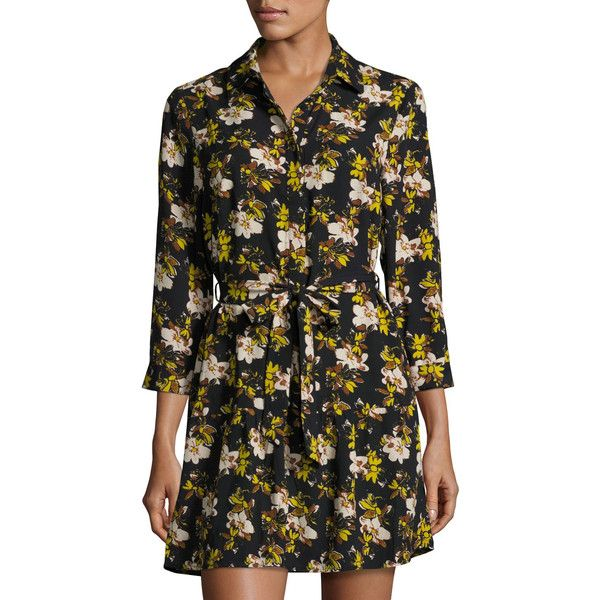 Collective Concepts Floral-Print Spread-Collar Shirtdress ($48) ❤ liked on Polyvore featuring dresses, black, floral print shift dress, floral shirt dress, shift dress, long shirt dress and collective concepts dress