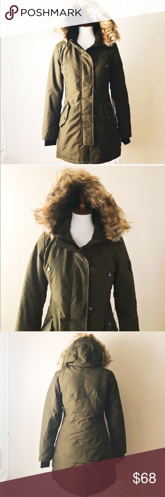 """Bebe warm puffer jacket New with tag. 100% polyester filling 100% polyester. In army green color. Has plenty of pockets. Length approximately 34"""". Price is firm. No trades  bebe Jackets & Coats Trench Coats"""