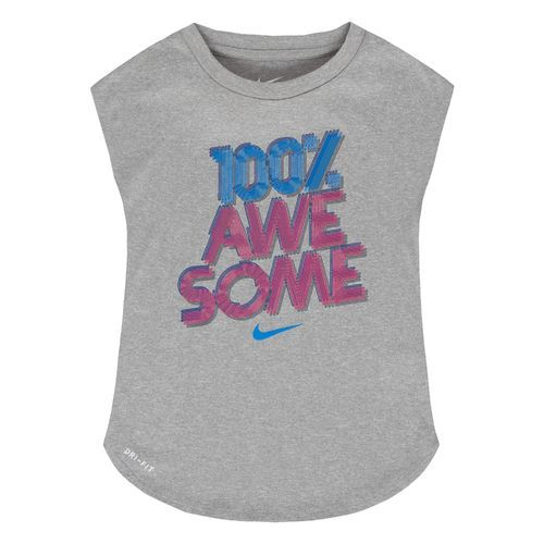 Nike Kids' 100% Awesome Dri-FIT Modern T-shirt (Grey Medium, Size 6X) - Girl's Apparel, Girl's Athletic Tops at Academy Sports