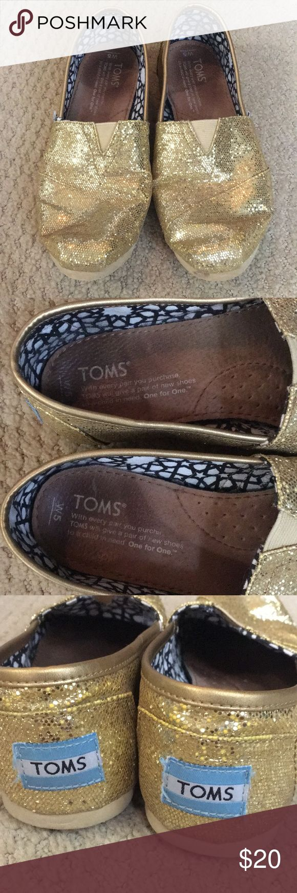 Gold Glitter TOMS-Size 5 Gold glitter TOMS. Size 5. Only worn a few times. Leather insoles, glitter is sparkley, and have never been worn without socks. In great condition. Toms Shoes Flats & Loafers