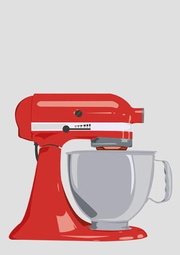 KITCHEN AID MIXER POSTER PRINT art kitchen retro RED TEAL LIME ORANGE BEIGE | eBay