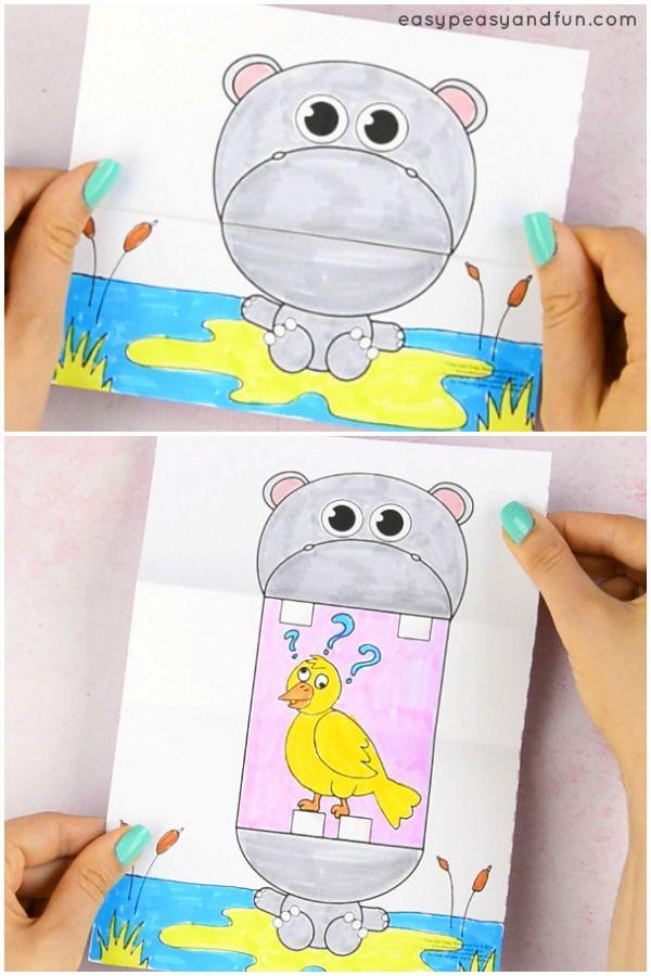 Surprise Big Mouth Hippo Printable Hippo Crafts Paper Crafts For Kids Papercraft Printable