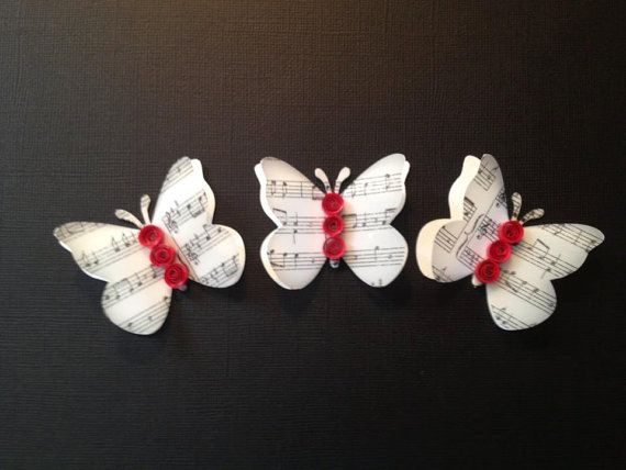Music Vellum and Card Stock Butterflies.  could use pretty trio on card with sentiment under them