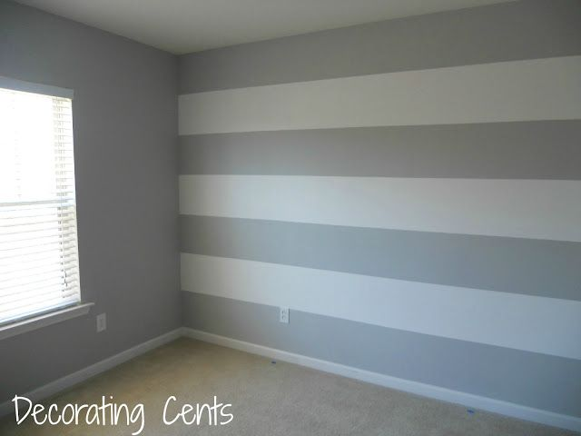 Decorating Cents: Painting A Striped Wall. Love the accent wall and mostly gray look