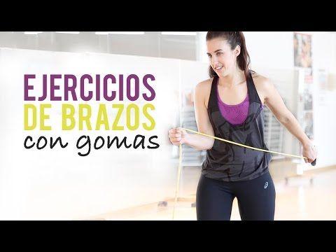 Ejercicios para tonificar biceps y triceps con gomas - YouTube