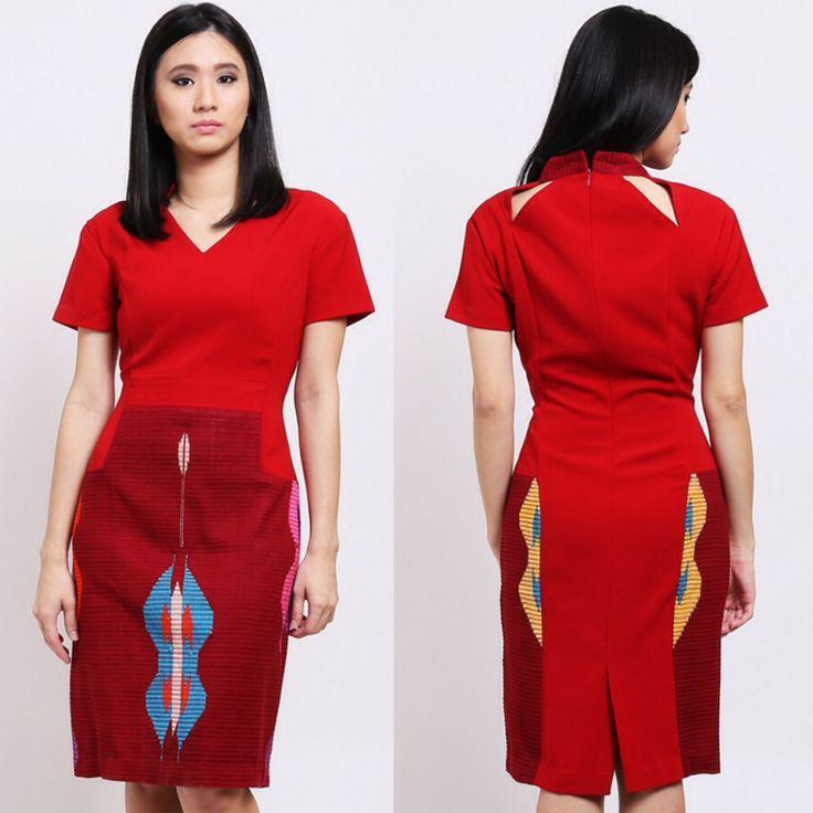 Tenun lombok motif buterfly dress by de culture