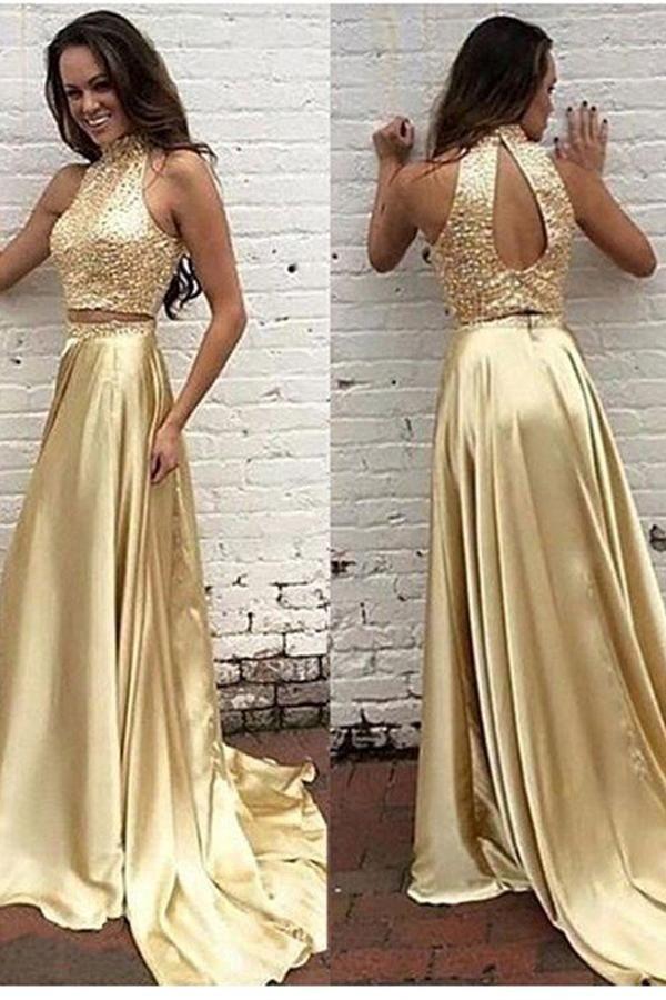6b16e17c75ea Gold Beaded Satin 2 Pieces Prom Dress Custom Made Fashion Two Piece  Beadings Long Homecoming Dress PD273