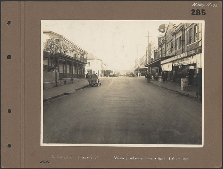 Church St, Parramatta. 1946 Wave where tram lines taken up.