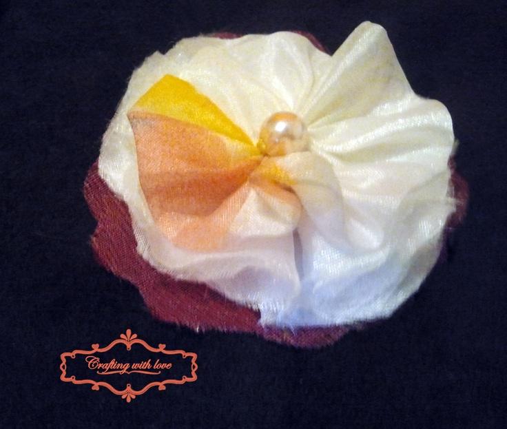~Blanche~ Handmade fabric brooch.