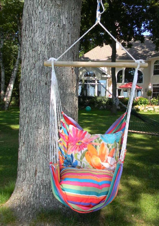 You'll realize what true bliss is when you sink into the comfort of this plush Hammock Chair  Pillow Set. The weather, fade, and mildew-resistant 100% polyester Sundure fabric has the luxurious feel of cotton, making this single-layered swing more breathable than quilted hammocks. It comes with a matching seat pillow and a coordinating back pillow to envelop you in such comfort that you'll find yourself lingering outdoors.