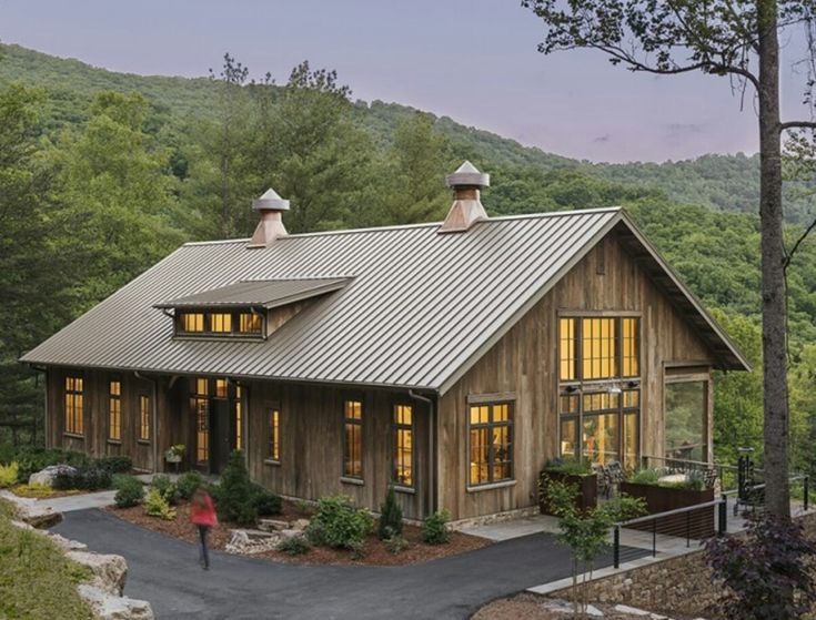 19 best copper penny metal roof images on pinterest for Modern pole barn homes