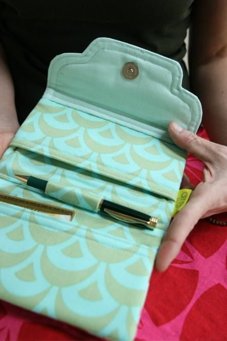 Amy Butler's Solid fabrics with The Beautiful Balance Checkbook Cover from Style Stitches