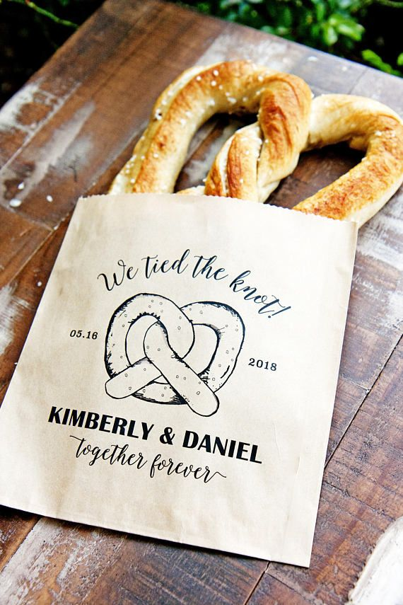 "Soft Pretzel Wedding Favor Bags ""We Tied the Knot"". Original hand drawn pretzel by mavora.com"