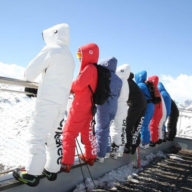 Team #oneskee_zipup product testing in #Tignes #ski #snowboarding #allinones #skiwear #skigear #onepiece