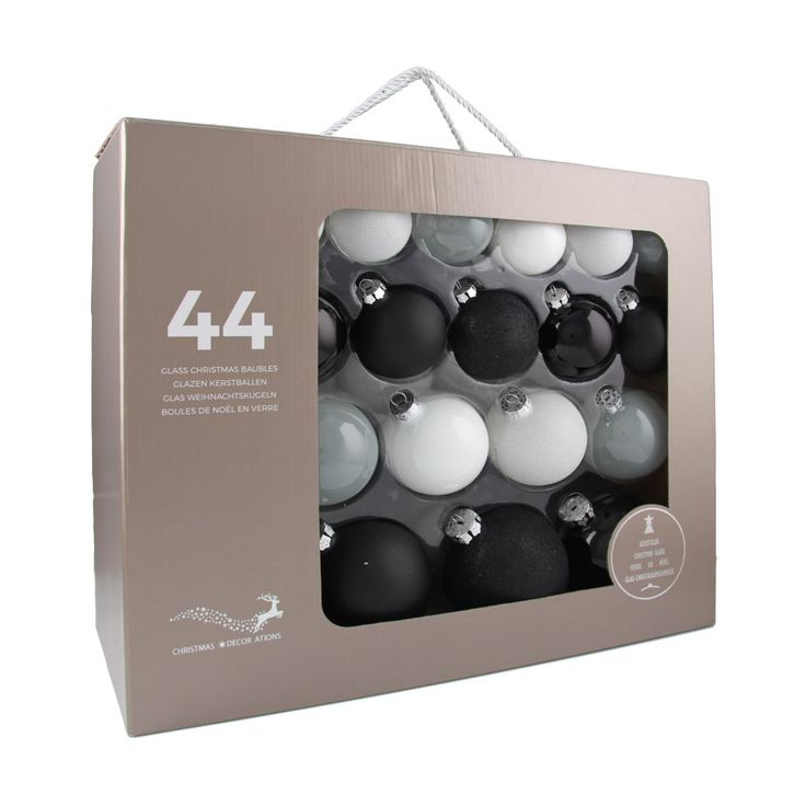 44-piece glass Christmas baubles set, in matt, shiny, clear and glitter black-white mix. The set consists of 14 baubles with a 6 cm diameter, 12 baubles with a 7 cm diameter, 10 baubles with an 8 cm diameter, and 8 baubles with a 10 cm diameter. Supplied in a handy case.