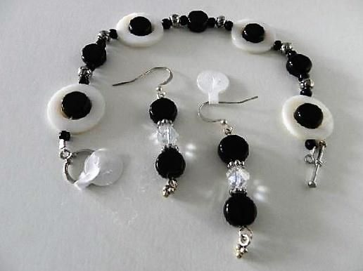 Mother of Pearl With Black Onyx Bracelet Matching Earrings by Sharon Gulezian