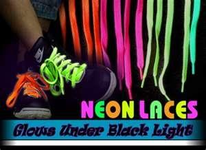 FOR THE Neon RUN, Black Light Reactive Shoe Laces (Pair)