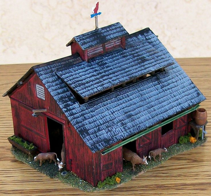 HO Custom Built & Nicely Detailed-CATTLE BARN BUILDING W/Cows&MoreNice Piece