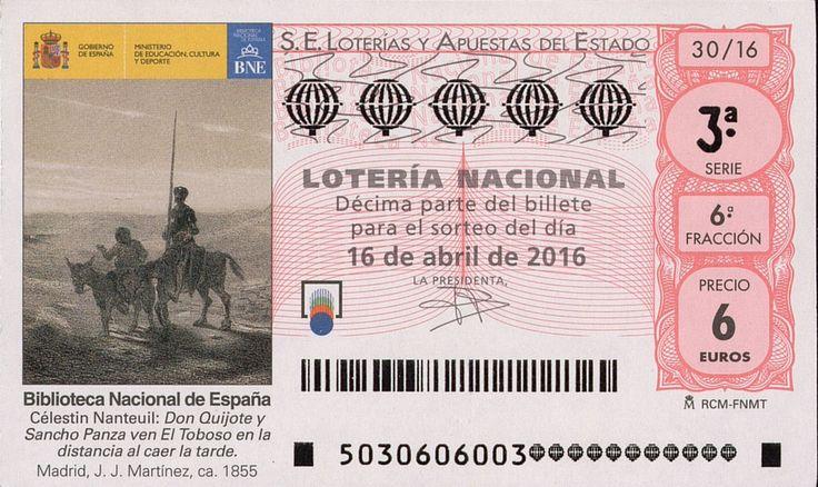 Billete de lotería: Don Quijote de La Mancha (Loteria Nacional (Spain), España) (2016 Don Quijote de La Mancha) Col:LN-SP-4712