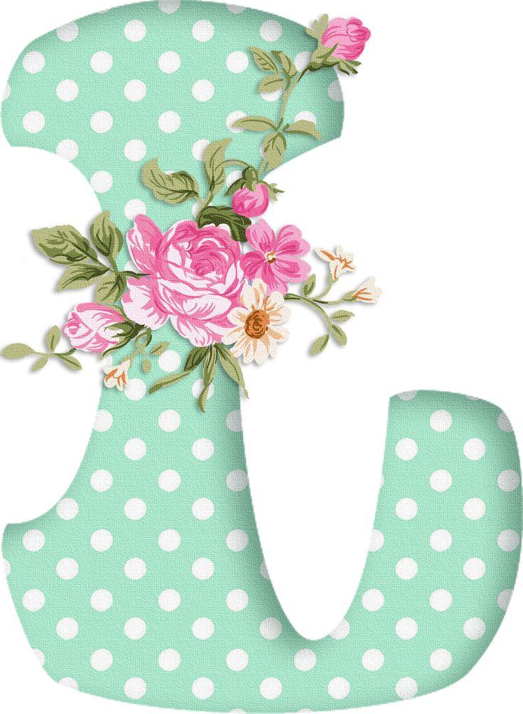 PAPIROLAS COLORIDAS: Abecedario con flores. Letras mayúsculas verdes, puntos blancos. Letra L.