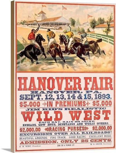 Hanover fair horse race wild west vintage printed on canvas
