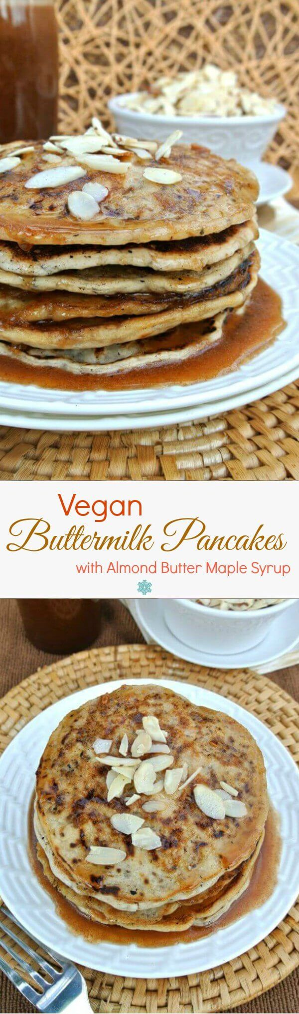 Vegan Buttermilk Pancakes with Almond Butter Maple Syrup are to-die-for and simple to make. Have as a special treat on the weekends or serve at your holiday brunch. @lovemysilk #DoPlants  ~ http://veganinthefreezer.com