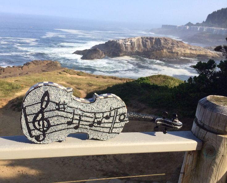 More music from the Oregon Coast. Back side of repurposed violin mosaic.