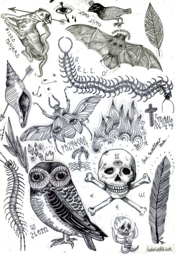 FLASH SHEET / TATTOO DESIGNS / by Izabela Dawid Wolf, via Behance