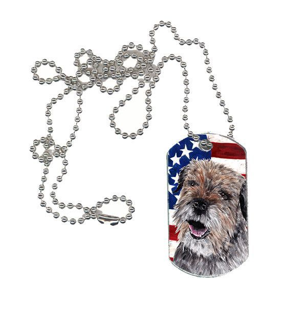 Border Terrier Mix USA American Flag Dog Tag