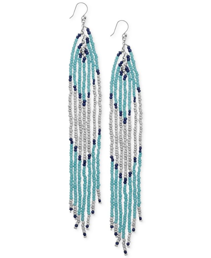 Lucky Brand Silver-Tone Turquoise-Colored Bead Drop Earrings